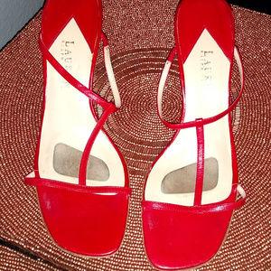 LAUREN Ralph Lauren T-Strap Heeled Sandals Size 9B